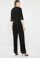 ONLY - Anni 3/4 sleeve wrap jumpsuit - black & white