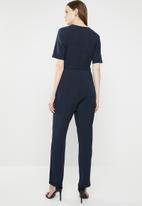 ONLY - Mella short sleeve pleated jumpsuit - navy