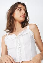 Cotton On - Lizzy lace up top - white