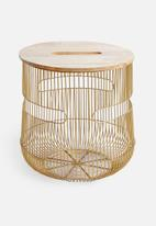 Sixth Floor - Rae storage table - gold/wood