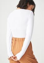 Cotton On - Baby tee long sleeve bodysuit - white