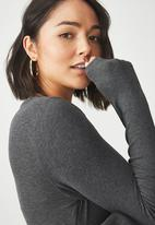 Cotton On - Baby tee long sleeve bodysuit - charcoal