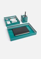 Sixth Floor - Perforated tray storage set of 3 - teal