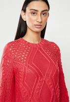 ONLY - Hilde long sleeve cable pullover - red