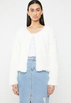 ONLY - Fiona long sleeve cardigan sweat - white