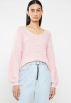 ONLY - Hilde v neck pullover knit - pink