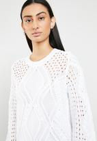 ONLY - Hilde long sleeve cable pullover - white