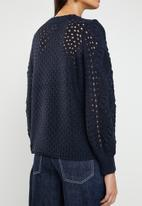 ONLY - Hilde long sleeve cable pullover - navy