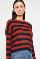 ONLY - Gwen long sleeve pullover knit - navy & red