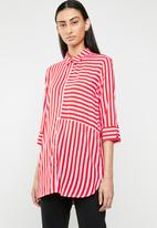 ONLY - Siri 3/4 striped shirt - red & pink