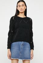 ONLY - Yasmin long sleeve structure pullover - black