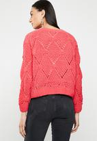 ONLY - Yasmin long sleeve structure pullover - pink