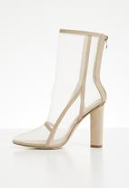 Footwork - Mesh block heel boot - nude