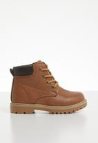 POP CANDY - Teens lace up boot - tan