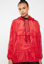Missguided - Hooded half zip windbreaker - red
