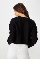 Cotton On - Carrie sleeve detail cable pullover - black