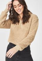 Cotton On - Teddy hoodie - brown