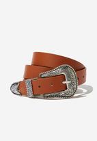 Cotton On - Western buckle belt - tan
