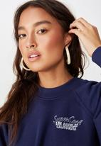 Cotton On - Batwing crew graphic fleece top - blue