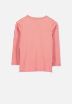 Cotton On - Penelope long sleeve  heart tee- pink