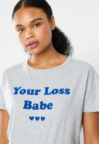 New Look - Your loss babe check pyjama set - grey & blue