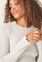 Cotton On - Metallic close to body pullover - cream