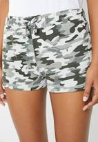 New Look - Camo jersey short set - green & white