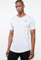 POLO - Space dye v-neck tee - white & grey