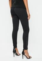 G-Star RAW - Lynn zip mid skinny ankle jean - black