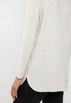 New Look - Brushed rib oversized top - beige