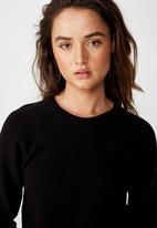 Cotton On - Rosie rib raglan pullover - black