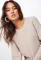 Cotton On - Rosie rib raglan pullover - beige