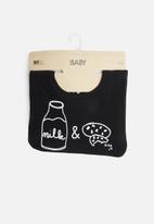 Cotton On - Sugar and spice milk & cookies bib - black