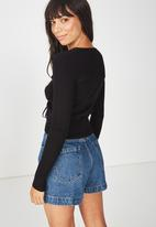 Cotton On - Roxy ruched front rib close to the body - black
