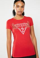 GUESS - Guess sequin crane logo tee - red