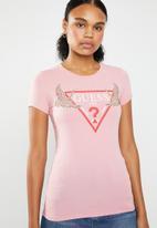 GUESS - Guess sequin crane logo tee - pink