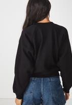 Cotton On - Batwing crew graphic fleece top - black
