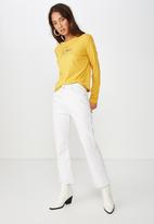 Cotton On - Classic slogan long sleeve tee - yellow