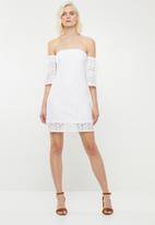 Superbalist - Flute sleeve lace dress - white