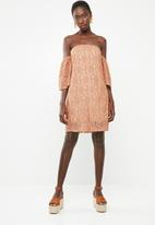Superbalist - Flute sleeve lace dress - peach