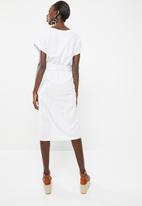 Superbalist - Stripe wrap dress with self fabric tie belt - white
