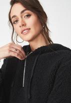Cotton On - Teddy hoodie - black