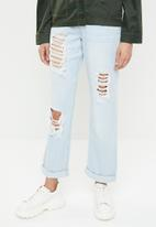 Missguided - High rise distressed boyfriend jean - blue