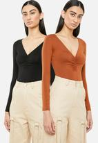 Superbalist - 2 Pack ruched bodysuit - rust and black