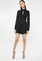 ONLY - Cosmo long sleeve lurex playsuit - black