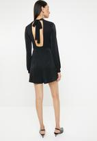 ONLY - Cosmo long sleeve lurex playsuit - black & navy