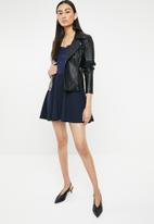 Missguided - Bardot lace top flared mini dress - navy