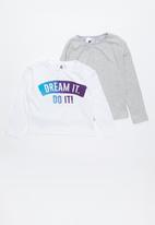 Rebel Republic - Kids 2 pack long sleeve top - grey & white