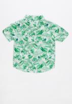 Cotton On - Jackson short sleeve shirt - green & white