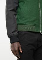 STYLE REPUBLIC - Melton body bomber jacket - green & black